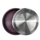 Maroon and Silver Anodized Aluminum Serving Trays - Set of 4