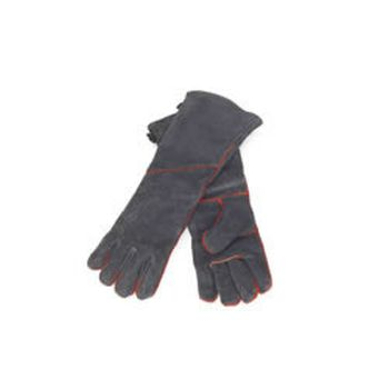 """1 Pair Of Fireproof, Insulated, Black Cowhide Fireplace Gloves, 19""""L"""