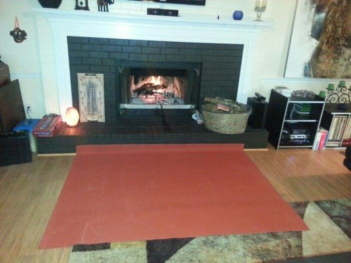 "PyroProtecto 60"" x 40"" Double Layer Hearth Rug - Redwood"