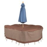 "Rectangular/Oval Table and Chair Set Cover with Umbrella Hole 88"" W"