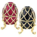 Golden Trellis Romanov-Style Enameled Eggs - Set of Rouge & Ebene