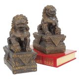 Chinese Guardian Lion Foo Dog Statues - Set of Two