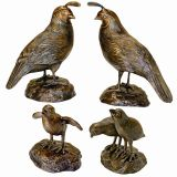 California Quail Solid Cast Bronze Garden Statue - Set of Four