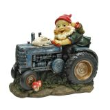 Bunny on Board the Tractor, Garden Gnome Statue