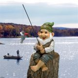 Design Toscano QM2806500 Ziggy, the Fishing Gnome Garden Sitter Statue