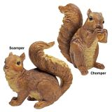 Scamper and Chomper, the Woodland Squirrel Statues - Set of Two