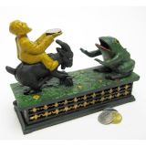 Frog & Goat Collectors Die Cast Iron Mechanical Coin Bank