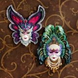 Maidens of Mardi Gras Wall Mask Sculptures - Set of 2