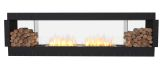 Flex Double Sided Bioethanol Firebox-Black Finish-Decorative Two Side