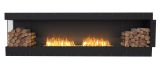 Flex Left Corner Bioethanol Firebox-Black Finish-Decorative Two Side