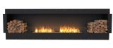 Flex Single Sided Bioethanol Firebox-Black Finish-Decorative Two Side