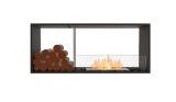Flex Double Sided Bioethanol Firebox-50DB-Black Finish-Decorative Side