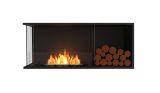 Flex Left Corner Bioethanol Firebox-Black Finish-Decorative Right Side