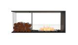 Flex Peninsula Bioethanol Firebox-Black Finish-Decorative Left Side