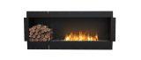 Flex Single Sided Bioethanol Firebox-Black Finish-Decorative Left Side