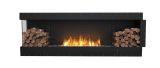 Flex Left Corner Bioethanol Firebox-Black Finish-Decorative Two Side