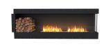 Flex Right Corner Bioethanol Firebox-Black Finish-Decorative Left Side