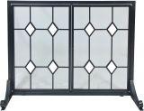 Dagan S149 Black Wrought Iron Panel Screen w/ Glass Diamonds Design