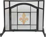 Dagan S167 Black Wrought Iron Panel Screen w/Glass Fleur De Lis Design