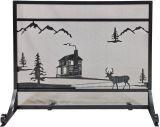 Dagan S175 Black Wrought Iron Panel Screen w/ Cabin Design