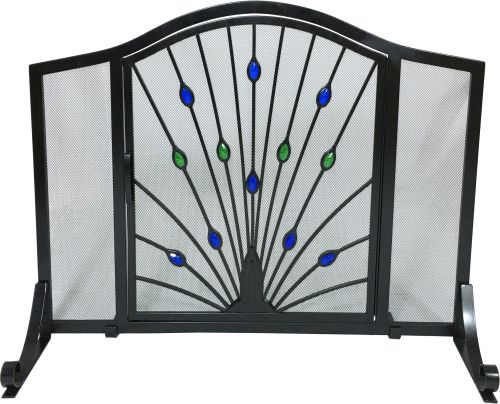 Black Wrought Iron Arched Panel Screen with Peacock Design
