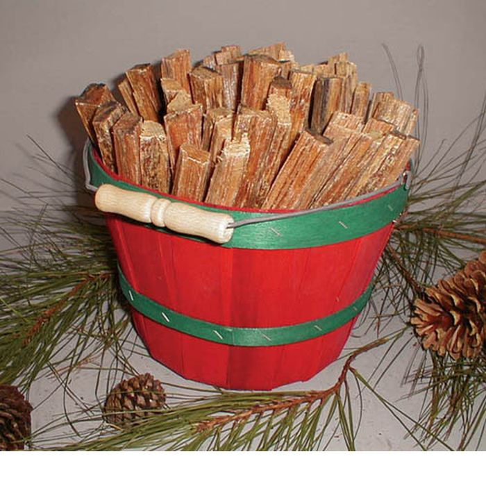 5# Fatwood in Red Peck Basket - 5 Lbs.