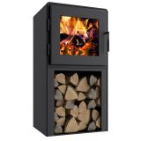 Nova Tower Wood Stove with Satin Black Door, Shroud and Blower Fan