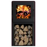 Nova Tower Wood Stove w/Black Door, Mojave Red Shroud and Blower Fan