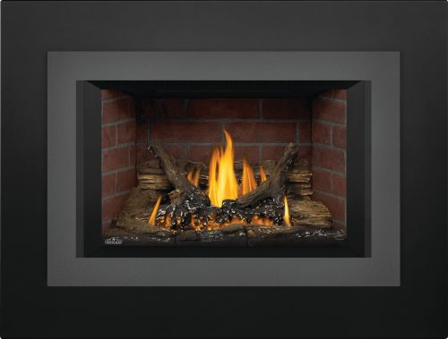 Oakville 3 Gas Fireplace Insert with Old Town Red Brick Panels