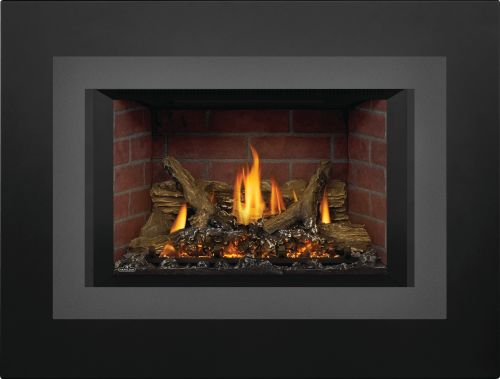 Oakville X3 Gas Fireplace Insert with Old Town Red Standard Panels