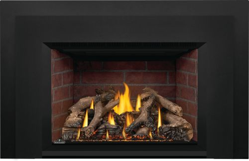 Oakville X4 Gas Fireplace Insert with Old Town Red Standard Panels