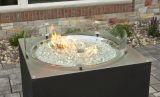 """30"""" Round Crystal Fire Stainless Steel Burner with Glass Fire Gems"""