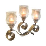 Pilgrim 17506 Mayfair Candelabra in Distressed Gold - Holds 3 Candles