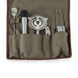 Picnic Time 671-14-105 10-Piece Bar Tool Roll Up Kit in Grey