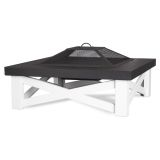 Real Flame 350 Austin Wood Burning Fire Table - White Base
