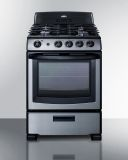 """Summit PRO247SS 24"""" Stainless Steel Gas Range with Oven Window"""