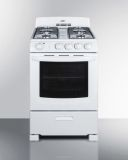"""Summit RG244WS 24"""" Gas Range in White with Sealed Burners"""