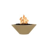 "Cazo 24"" Concrete GFRC Round LP Fire Bowl in Brown - Electric Ignition"