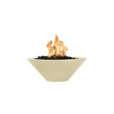 "Cazo 24"" GFRC Round NG Fire Bowl in Vanilla - Electric Ignition"