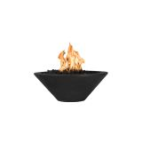 "Cazo 31"" Round Concrete GFRC NG Fire Bowl in Black - Electric Ignition"