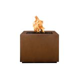 "Forma 42"" Square Corten Steel Fire Pit with Match Lit Ignition - NG"