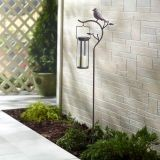 "Provence Bird Stake with Solar LED Candle 45"" Stake with 8"" Lantern"
