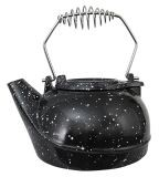 US Stove TK-02BWS 3 Qt Steamer Kettle - Black With White Spot Enamel