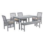 Walker Edison 6-Piece Simple Outdoor Patio Dining Set - Grey Wash