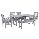Walker Edison 6-Piece Classic Outdoor Patio Dining Set - Grey Wash