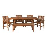 Walker Edison 6-Piece Extendable Outdoor Patio Dining Set - Brown