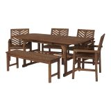 Walker Edison 6-Piece Extendable Outdoor Patio Dining Set - Dark Brown