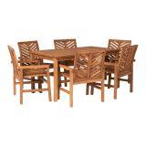 Walker Edison 7-Piece Chevron Outdoor Patio Dining Set - Brown