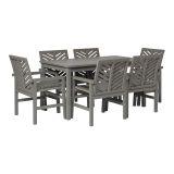 Walker Edison 7-Piece Chevron Outdoor Patio Dining Set - Grey Wash