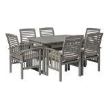Walker Edison 7-Piece Classic Outdoor Patio Dining Set - Grey Wash